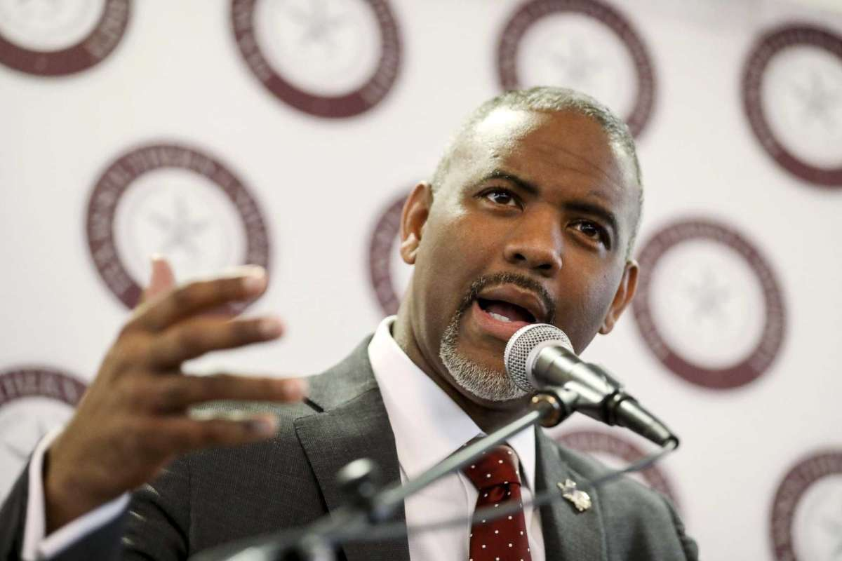 In this Jan. 22, 2018, photo, Texas Southern University President Austin Lane, president of Texas Southern University, speaks about a $2.7 million gift from the Center for Advancing Opportunity to Texas Southern University to start the Center for Justice Research, during a press conference at the university in Houston. Texas Southern University has ousted its president for failing to report fraud allegations in the admissions process and directing a former official to violate university policy. The decision to fire Lane on Wednesday, Feb. 5, 2020, came after the university's board of regents deliberated for five hours. (Jon Shapley/Houston Chronicle via AP)