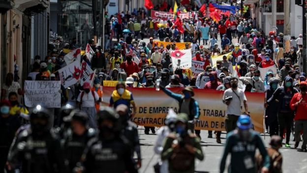 Protesters in Quito